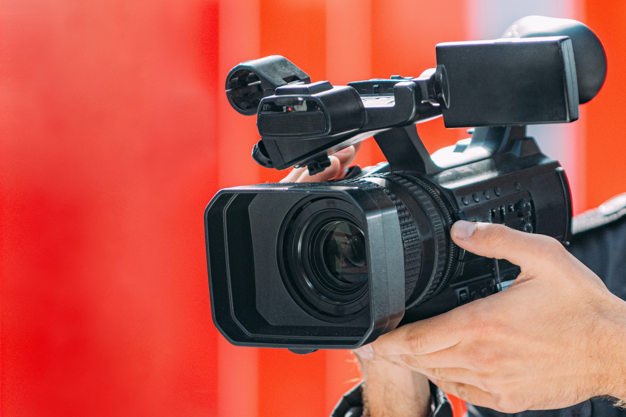 Digital Video Camera, Red Background